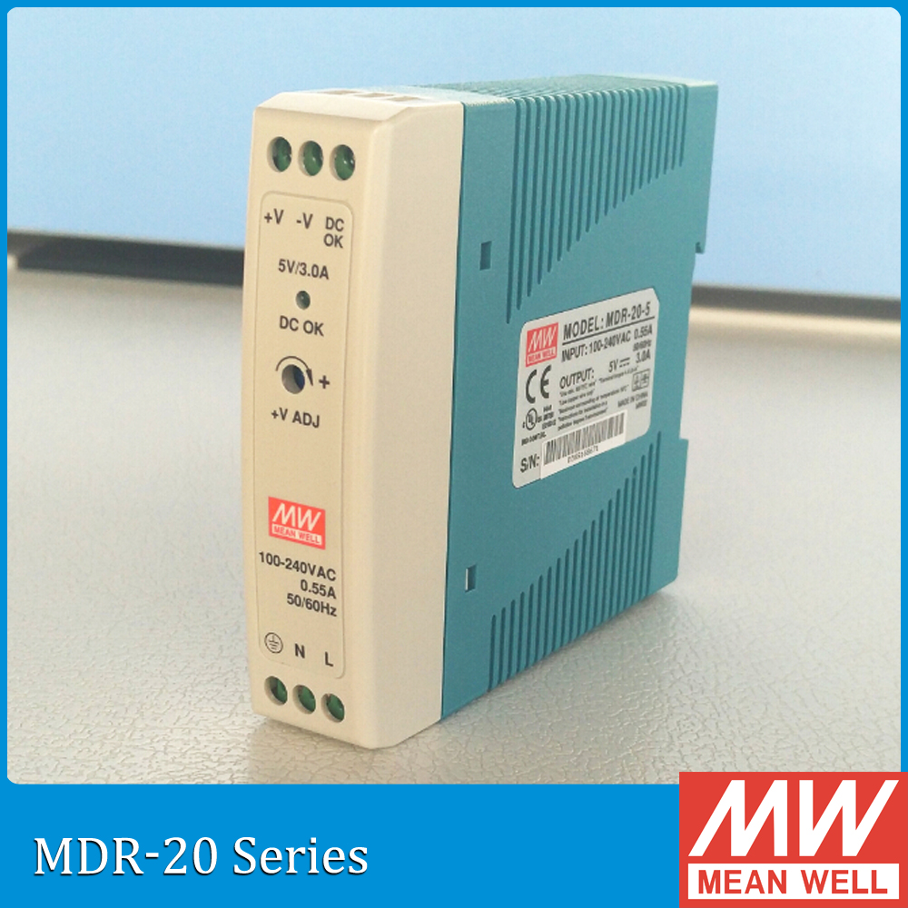 Original Meanwell MDR-20-15 20W 1.34A 15V Single Output MEAN WELL Industrial DIN Rail Power Supply MDR-20 [freeshiping 12pcs] mean well original mdr 40 24 24v 0 83a meanwell mdr 40 39 8w single output industrial din rail power supply