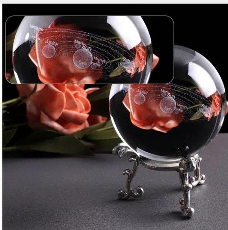 100mm Laser gravé système solaire balle 3D planètes miniatures modèle sphère verre Globe ornement décor à la maison cadeau pour Astrophile