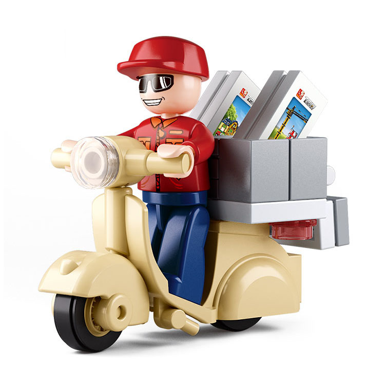 2016 New 28pcs/set Mini Motorcycle Postman Building Blocks Toys Kids Educational Compatible Legoed City delivery staff