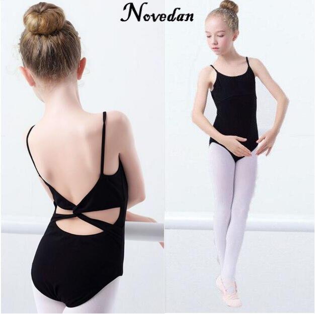 Балетное трико для девочек розового и черного цвета, хлопковое боди с несколькими ремешками, детская одежда для балета, Детская Одежда для танцев