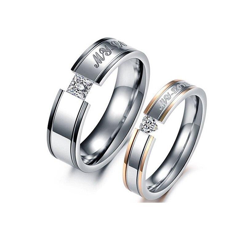 1 шт. Для женщин Для мужчин кристалл Обручение My Love пара Promise Ring Нержавеющаясталь группа