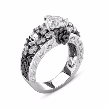 Gothic Silver Skull Ring Skeleton Black Rose Gold Filled Flower CZ Jewelry Promise Gift Engagement Wedding Band Rings for Women пандора браслет с шармами