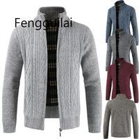 Men 2019 Winter Brand Thick Warm Cashmere Wool Zipper Cardigan Sweaters Man Casual Knitwear Sweatercoat Male Clothe