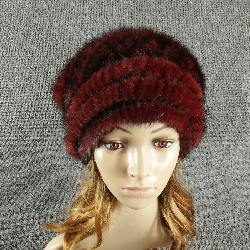 New arrival hot sale Russian style autumn winter  warm women's hats Christmas design knitted real mink fur hat women cap