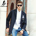 Pioneer Camp longo trench coat homens roupas de marca Top Quality Moda Casual Fit preto dos homens Casaco masculino casaco longo 611316