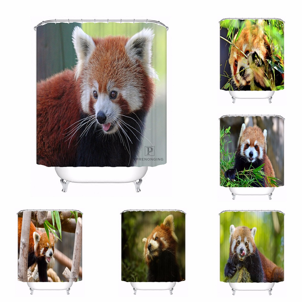 Custom Beauty Red Panda Sticking Out Tongue Bath Curtain Bathroom Mildewproof Waterproof Polyester Shower Curtain#180417-04-08
