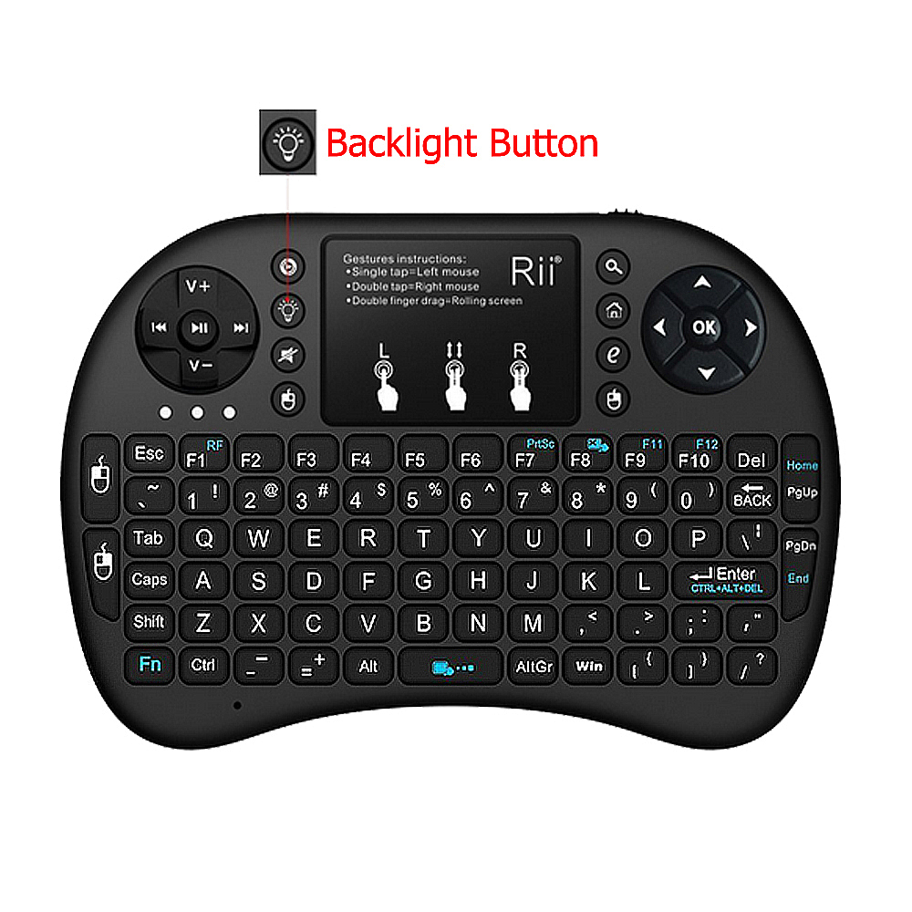 Rii i8+ 2.4G Wireless keyboard English Russian Spanish keyboard with Backlight Air Mouse for Android TV BOX Mini PC