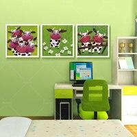 3 предмета настенная живопись, холст абстрактные картины Симпатичные Корова детская комната Гостиная настенные панно Печать на холсте (без ...