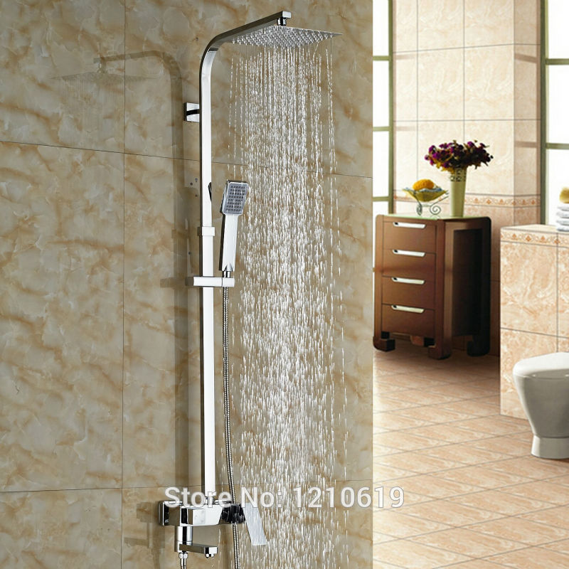 Newly Modern Chrome Polished Bathroom 8 Shower Faucet Set w/ Hand Shower Wall Mounted Bath Shower Mixer Tap bathroom faucet modern round 8 shower head set faucet shower set polished chrome dual handle wall mounted shower mixer tap