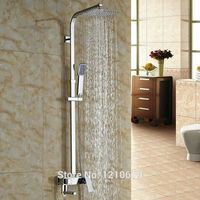 Newly Modern Chrome Polished Bathroom 8 Shower Faucet Set W Hand Shower Wall Mounted Bath Shower