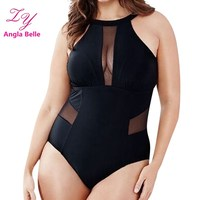 Solid One Pieces Swimsuit Plus Size Swimwear Women Backless Bathing Suits Padded Beachwear High Neck Monokini