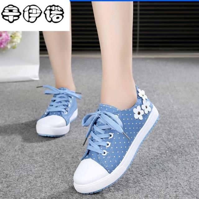a18728d0a Novas Mulheres Lona Sapatos Casuais Lace-Up Primavera Bonito Cores Doces  Apartamentos Senhoras Sapatos brancos