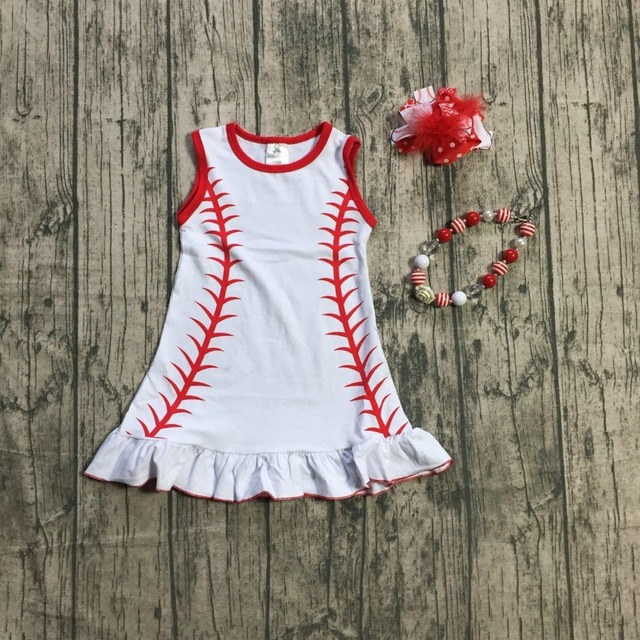 644114f21f4c new baby girls summer baseball set red white boutique outfit cotton dress  ruffles clothing with matching bow and necklace ruffle