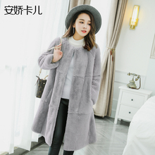 Natural real genuine Rex Rabbit fur coat women whole skin long