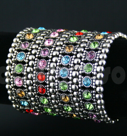 Fashion Jewelry Vintage Silver 4 Row  Colorful Crystal Rhinestone Stretch Cuff  Charms  Bracelets Bangle 2pcs For Women  X561