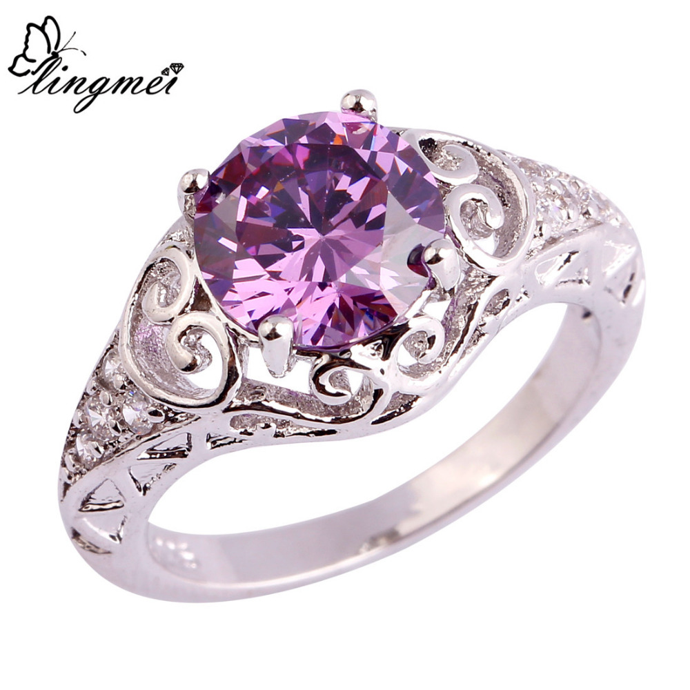 lingmei Party Junoesque Purple White CZ Silver Ring