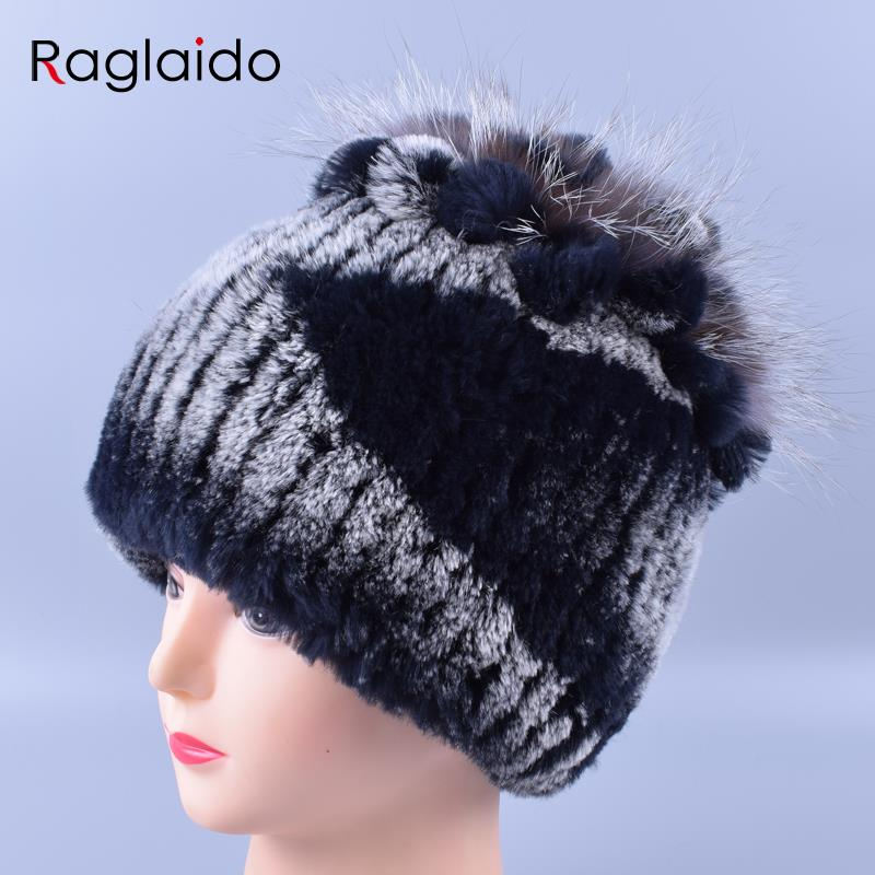 Raglaido Winter Genuine Knitted Real Rex Rabbit Fur Hat 100% Real Fur Hats merf moshino women Warm Snow Beanies LQ11098 relax mode платья