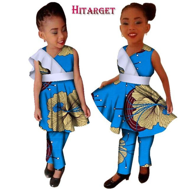 8fc26c7757a4 New Girls Plus Size African Clothing Dresses Vestidos Dashiki African bazin  riche Wax Print Splice Dresses and Pants Sets WYT124