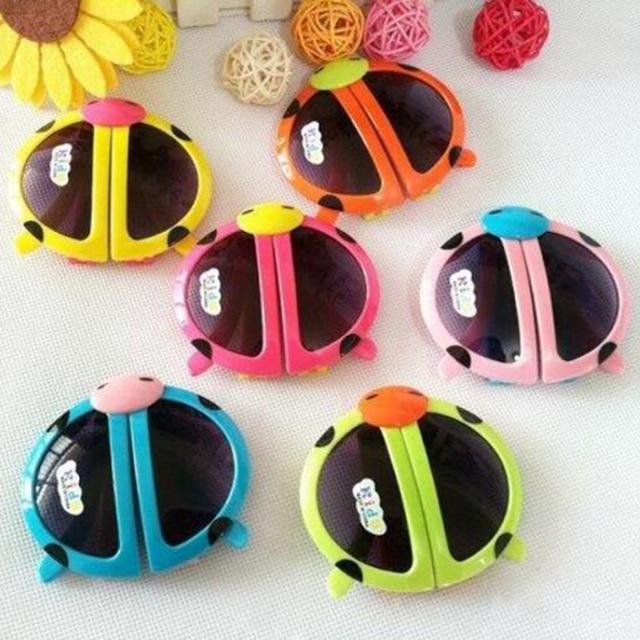 93bbec1914cb Cute Children Sunglasses Foldable Kids Cartoon Sun Glasses Beetle Pattern  For Boys Girls Accessories Gafas Oculos Random Color