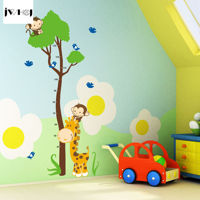 jwhcj new 6090cm diy cartoons monkey tree height wall stickers kids bedroom background decal - Kids Bedroom Background