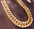 Heavy  Yellow Gold GF Double Curb Chain Mens Huge Necklace 9mm wide thick  Not satisfied, 7 days no reason to refund