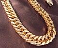Pesado Oro Amarillo GF Collar de Doble Cadena del Encintado del Mens Enorme 9mm ancho espesor No satisfecho, 7 días ninguna razón para la devolución