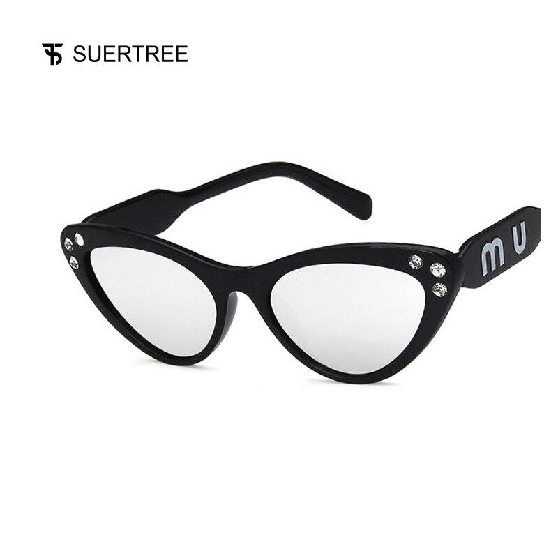SUERTREE Fashion Bling Triangle Sungalsses Trendy Plastic Mirrored Glister Shades Classic Women Men UV400 Eyewear 1803