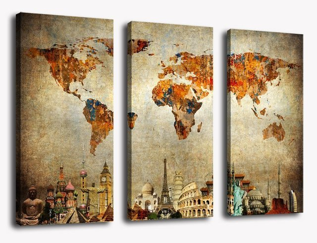 Wall art canvas painting vintage travel world map painting wall art canvas painting vintage travel world map painting contemporary pictures modern artwork prints on canvas gumiabroncs Choice Image