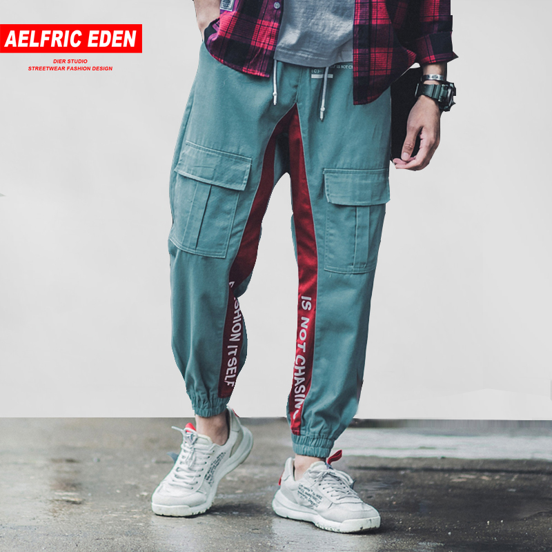 Aelfric Eden Side Striped Letter Print Men Joggers 2018 New Design Male Cargo Pants Casual Streetwear Hip Hop Sweatpants B035