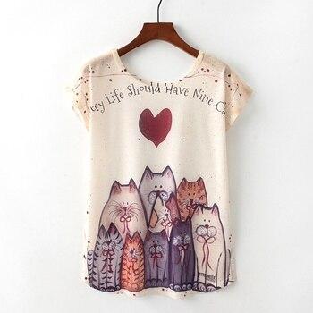 KaiTingu été nouveauté femmes T Shirt Harajuku Kawaii mignon Style joli chat imprimé T-shirt nouveau à manches courtes hauts taille M L XL