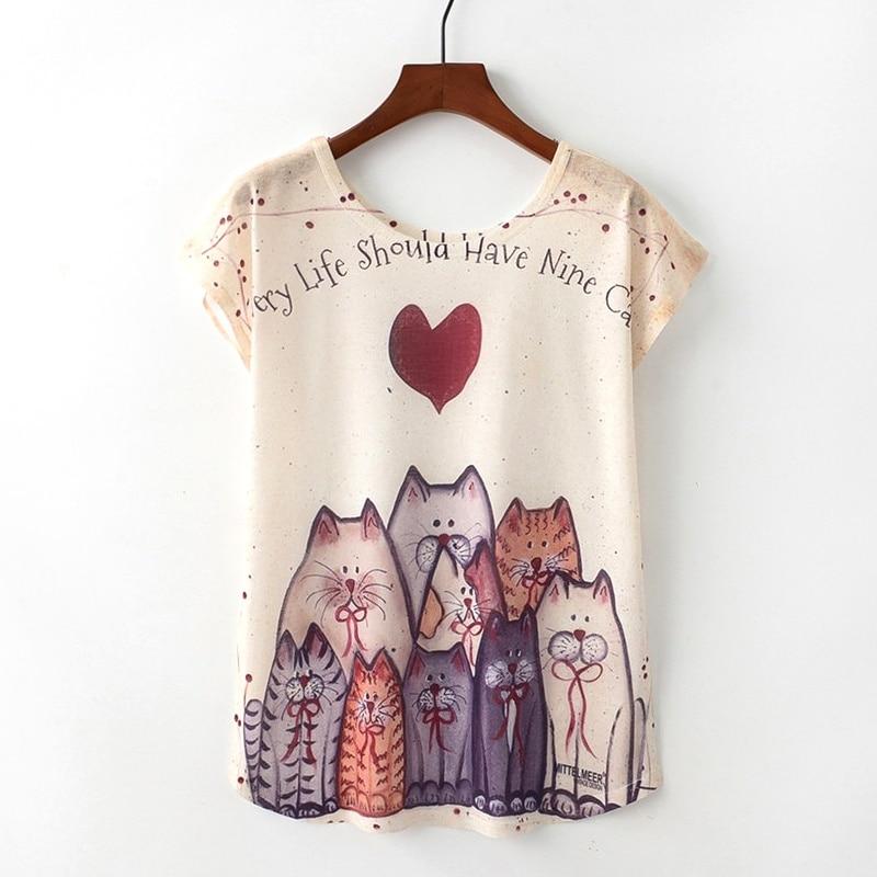 KaiTingu Summer Novelty Women T Shirt Harajuku Kawaii Cute Style Nice Cat Print T-shirt New Short Sleeve Tops Size M L XL