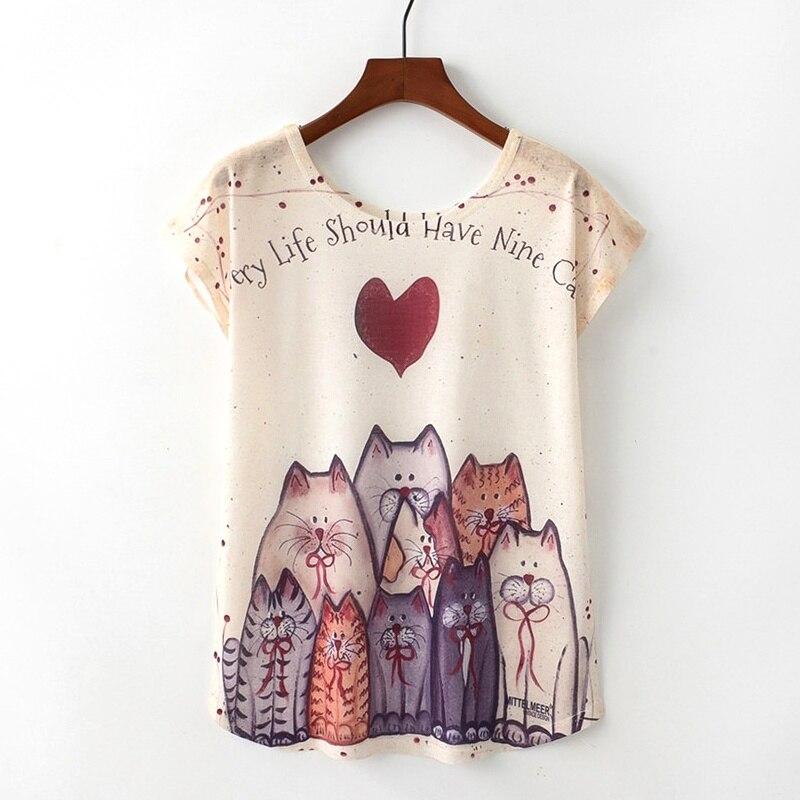 KaiTingu D'été Nouveauté Femmes T-shirt Harajuku Kawaii Mignon Style Belle chat Impression T-shirt New Manches Courtes Tops Taille M L XL