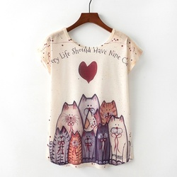 KaiTingu verano novedad mujer camiseta Harajuku Kawaii lindo estilo bonito gato estampado camiseta nueva manga corta Tops talla M L XL