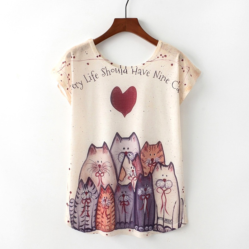 Kaitingu verano novedad mujeres camiseta Harajuku kawaii estilo lindo Niza gato imprimir camiseta nueva manga corta Tops tamaño M l XL