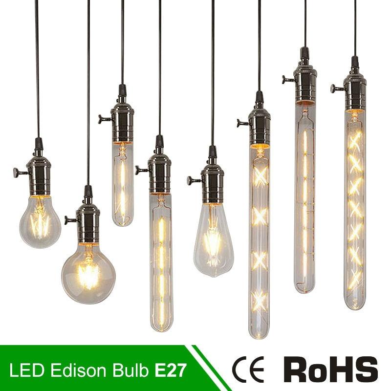 Antique Retro Vintage LED Edison Bulb E27 LED Bulb E14 Filament Light G80 G95 ST64 220V Glass Bulb Lamp 2W 4W 6W Bombillas Lamp