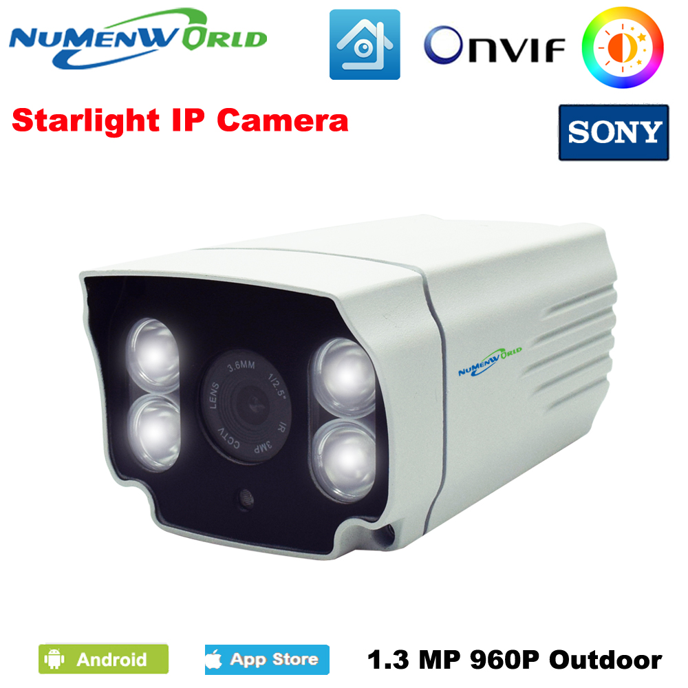 Full Color Camera IP SONY Sensor 960P Outdoor bullet Camera IP Camera CCTV P2P ONVIF Intelligent white light LED NuMenWorld wistino cctv camera metal housing outdoor use waterproof bullet casing for ip camera hot sale white color cover case