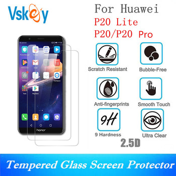 VSKEY 100pcs 2.5D Tempered Glass For Huawei P10 P20 Lite P8 P9 Nova 3i y3 y5 y6 y7 y9 Screen Protector Protective Film