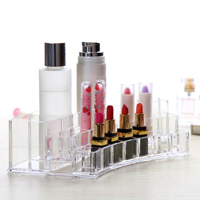 NEW Transparent Plastic Lipstick Display Stand Holder Cosmetics Storage Box Cosmetics Sample Rack