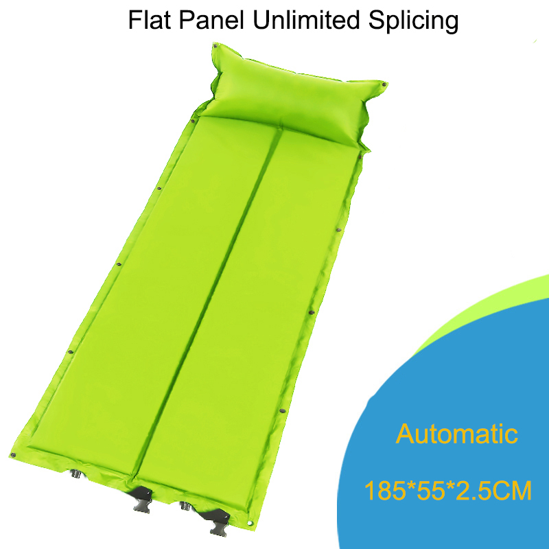 Inflatable Mattress with Pillow Camping Mat Automatic Pad Single-person Thickening Portable Moisture-proof Mat Beach Foldable