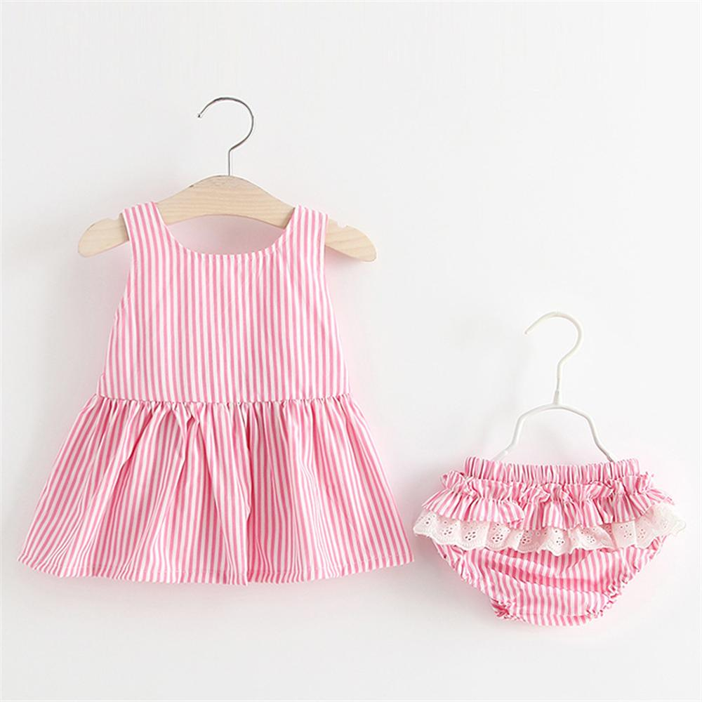 Baby Dresses + Underwear 2018 New Summer Casual Baby Girls Clothes Striped Backless Bow Infant Children Princess Clothing