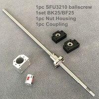 SFU/RM 3210 Ballscrew 1100-1500mm con extremo mecanizado + 3210 Ballnut + BK/BF25 soporte de extremo + carcasa de tuerca + acoplamiento para CNC