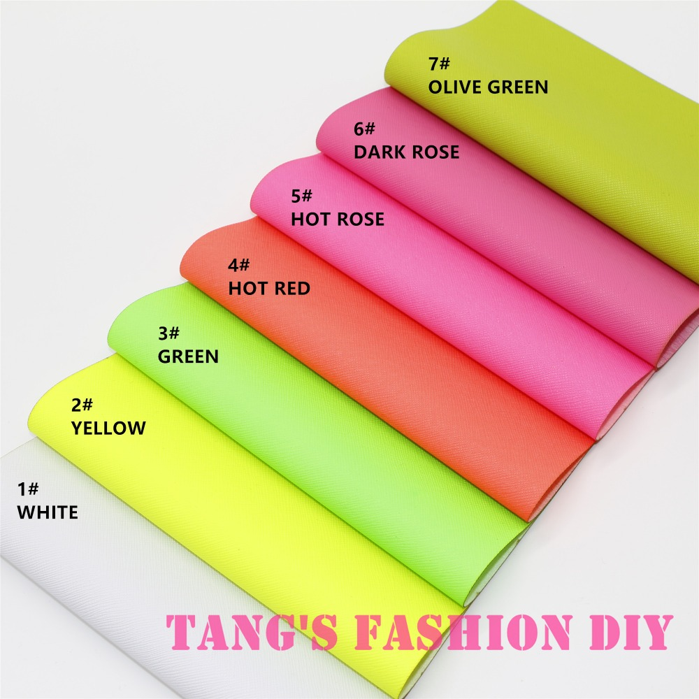 7PCS--High Quality DIY Fluo Color PU Leathers/Synthetic Leather/DIY Fabric 20x22cm Per Pcs CAN CHOOSE COLOR