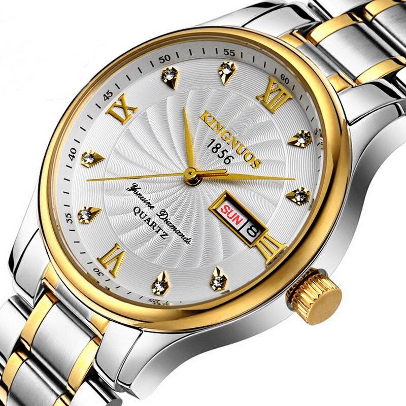 Montres hommes Top marque de luxe en acier inoxydable montre Date semaine étanche hommes montre à Quartz entreprise mâle Horloge diamant Horloge