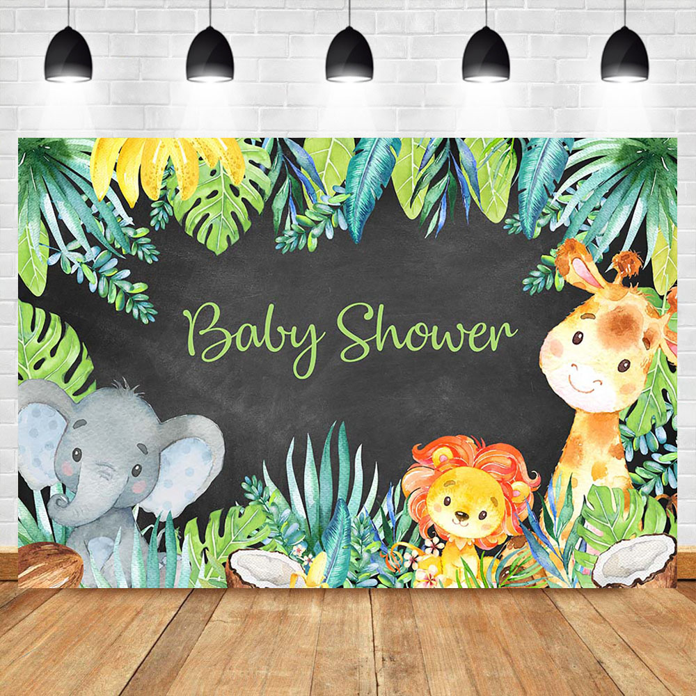 Cute Animal Baby Shower Backdrop Summer Green Leveas Photo Background Elephant Lion Party Banner Dessert Table Decorations Props in Background from Consumer Electronics