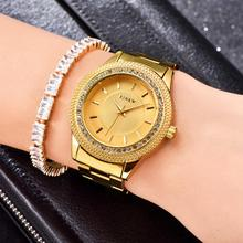 цена Fashion New Cubic Zirconia Round Dial Alloy Linked Strap Analog Quartz Wrist Watch онлайн в 2017 году