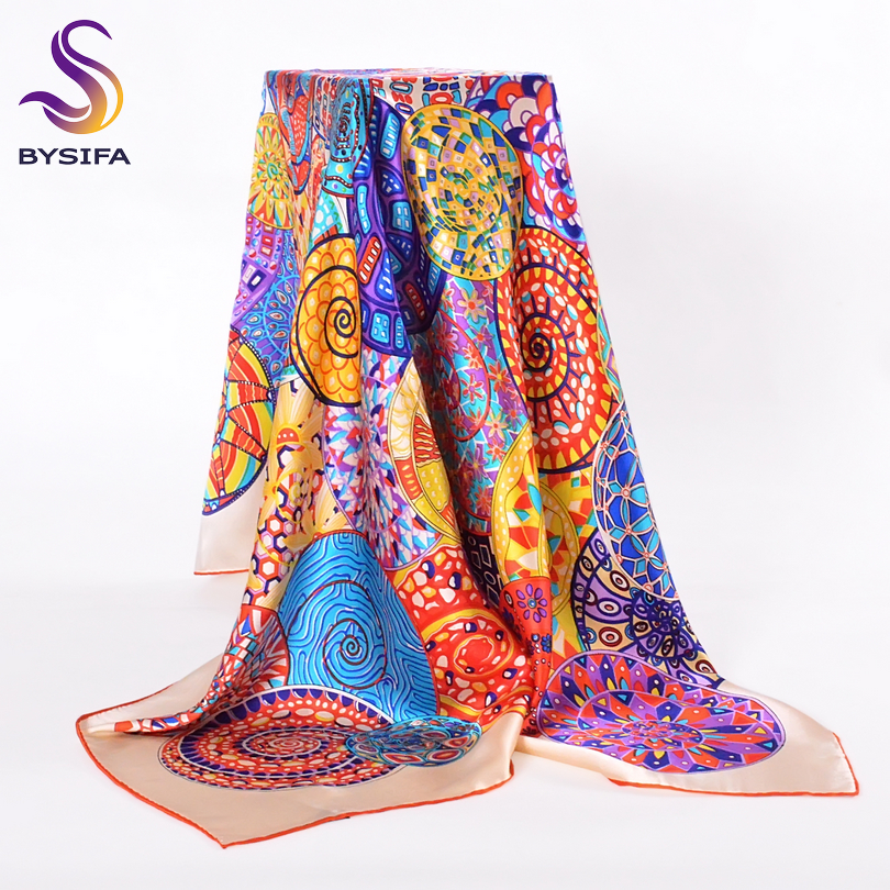 BYSIFA Pure Silk   Scarf   Shawl Women Winter New Design Snails Pattern Large Square   Scarves     Wraps   Foulard Beige   Scarf   Cape110*110cm