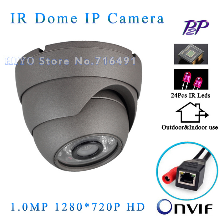 1280*720P 1.0MP Mini Dome IP Camera ONVIF 2.0 Waterproof Outdoor IR CUT Night Vision P2P Plug and Play, Metal Case free shipping wifi ipc 720p 1280 720p household camera onvif with allbrand camera free shipping