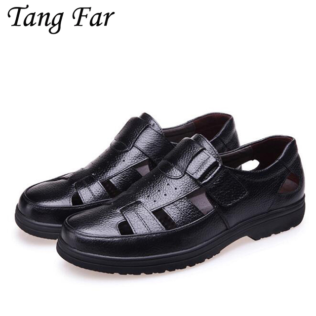 ccdb58e30c7 Summer New Men Leather Sandals Rome Father Shoes Hole Elderly Breathable Casual  Shoes For Male Mens