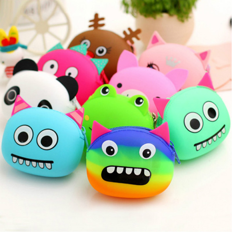 cartoon cute zipper purse silicone coin bag new creative kids' mini wallet Money Bag Pouch Bank Case
