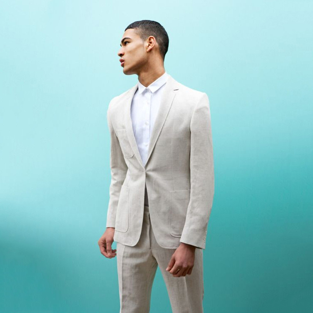 c303a0d54a7e 2017 Latest Coat Pant Designs Ivory Linen Suits Men Slim Fit Summer Beach  Tuxedo Modern Simple Custom 2 Piece Jacket Terno HG6